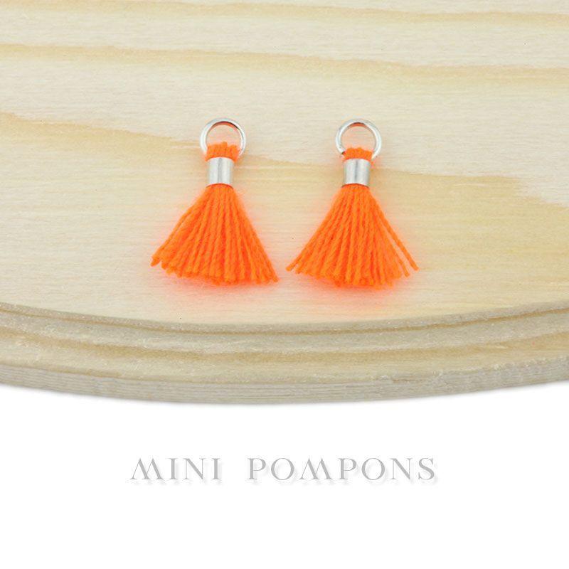 20 pcs mini pompons en coton attache argent e 14mm orange fluo la perlerie 22. Black Bedroom Furniture Sets. Home Design Ideas