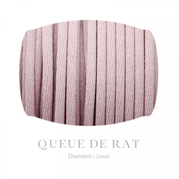 Queue de rat 2mm vieux rose x3m / Queue de rat
