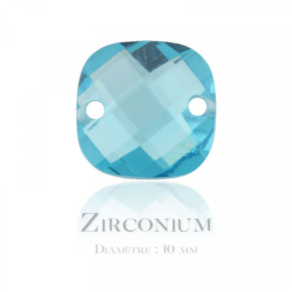 Perle carrée en Zirconium 10mm light turquoise x1 / Cubic Zirconia