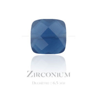 Perle carrée en Zirconium 6.50mm bleu denim x1 - 1,00 €